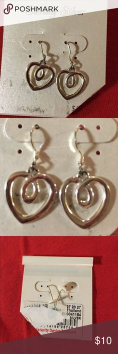 Heart Earrings Dangly heart earrings, brand new, never used! Sterling silver. Tags were scratched off because they were a gift and I just never wore them. Kohl's Jewelry Earrings