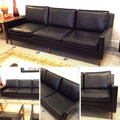 Vintage Midcenturymodern Black Vinyl Milobaughman Style 3 Seat Sofa