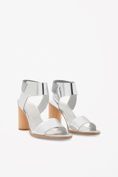 COS image 6 of Wooden heel strap sandals in Silver
