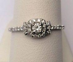 Halo Style Round Diamonds Promise Engagement Ring Skinny Petite (0.25ct. tw)-RG321551502695