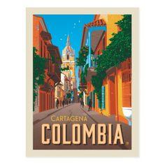 Cartagena Colombia Postcard #travelposters #travel #destinations #retro