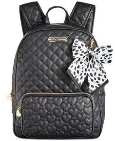 "Get ready to rock the hottest look in the locker room with this stylishly sturdy, large faux leather backpack from Betsey Johnson! | Faux leather | Imported | Large sized bag; 12""W x 15""H x 5-1/2""D 