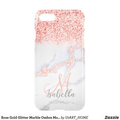 Rose Gold Glitter Marble Ombre Monogram iPhone 8/7 Case Wonderful delightful marble texture with rose gold faux glitter on your Clear phone! Personalize it by adding your name or monogram! Case Case #iPhone Case #monogram #technology #phonecase, #editable #case, #iphone, #samsung,  #shopping #onlineshopping #buyart #art #glamour #sparkle #girly #trendy #utart #zazzle #marble #glitter