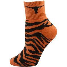 05858edf00 Texas Longhorns Ladies Burnt Orange-Black Tiger Stripe Quarter Socks Texas  Longhorns