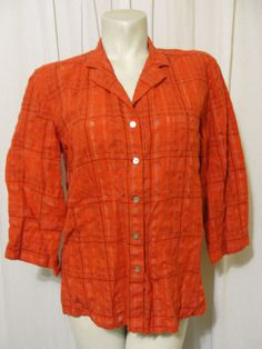 Chicos Design Size 2 L 12/14 Red Black Plaid Linen Blend 3/4 Sleeve Shirt Top #Chicos #ButtonDownShirt #Casual