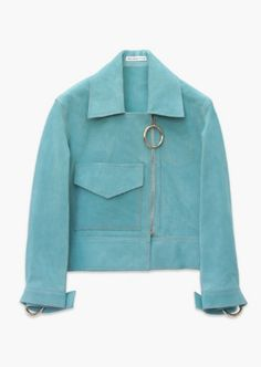 Aqua Italian suede cropped biker jacket with ring cuff detail and ring zip puller.
