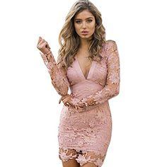 Patgoal Le donne pizzo floreale Vestito aderente Backless mini abito da sera 89d26cdf98f