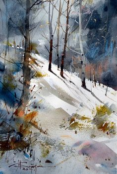 Watercolour painting of the rural landscape by Corneliu Dragan Targoviste Watercolor Trees, Watercolor Artists, Watercolor Techniques, Watercolor And Ink, Watercolour Painting, Painting & Drawing, Watercolors, Watercolor Landscape Paintings, Painting Art