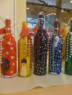 Fles versiert tot olielamp in kerststijl #kerstmis