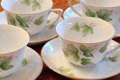"Narumi ""Spring Ivy"" Four Teacup and Saucer Sets"