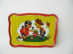 Vintage Child's Metal Tray Toy Tin Lithograph 1950s by PassedBy