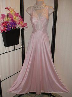 7f56e0dfe3 Vintage Olga nightgown soft pink long gown stretch bodice lace trim  Small Medium  Style 92087  bridal peignoir boudoir photos honeymoon gift