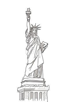 Statue of Liberty Hand Drawn Sketch Bridge Drawing, Line Drawing, Statue Of Liberty Drawing, New York Tattoo, Line Artwork, Art Painting Gallery, Pencil Art Drawings, Pen Art, Building Sketch
