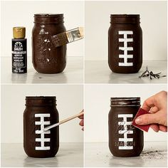 Football Party Mason Jars | Mason Jar Crafts Love