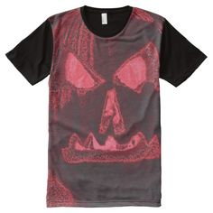 Large Jack-O-Lantern Face Pink/Orange All-Over Print T-shirt  #halloween #jackolantern #halloweentshirts  http://www.zazzle.com/thingsinnature?rf=238806092629186307