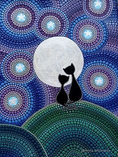 Cats under the moon for cat lovers A magnet on the fridge