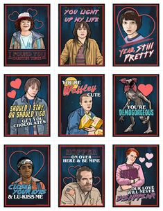 "The Stranger Things Valentine's Day Card Pack is perfect for sharing with your loved ones, friends and coworkers on Valentine's Day! Each 8.5""x 11"" sheet includes these 9 differen..."
