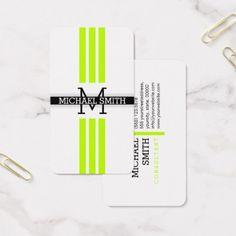 Professional Monogram Modern Lime Stripes Business Card - monogram gifts unique custom diy personalize