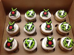These cupcakes were for a birthday at a laser tag studio. The cookies and cream cupcakes were topped with vanilla buttercream and fo. 9th Birthday Cake, Birthday Shots, Dragon Birthday Parties, Birthday Ideas, Fondant Cupcake Toppers, Cupcake Art, Cupcake Cakes, Cupcake Ideas, Laser Tag Birthday