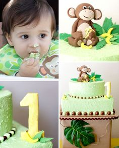 Love this cake for a Monkey 1st Birthday! @Alejandra - The Marshmallow Studio