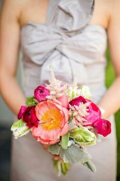 Bridesmaid's Wedding Flowers Of Coral Peony, Hot Pink Peony, Magenta Ranunculus, Pink Astilbe, Green Parrot Tulips & Dusty Miller****