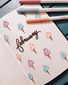 February Cotton Candy Cover Sheet - The February cover in my Bullet Journal . - February Cotton Candy Cover – The February cover in my Bullet Journal is super cute! Read more ab - Bullet Journal Entries, February Bullet Journal, Bullet Journal Banner, Bullet Journal Cover Page, Bullet Journal 2020, Bullet Journal Notebook, Bullet Journal Aesthetic, Bullet Journal Layout, Bullet Journal Inspiration