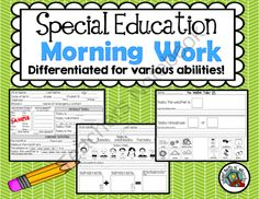 Special Education Daily Skills Practice from School Bells N' Whistles on TeachersNotebook.com - (10 pages) - Daily skills practice or morning work for the special education classroom
