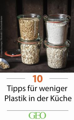 Weniger Plastik in der Küche: Zehn Tipps Make Sustainable & Avoid Plastic: Ten Tips for Less Plastic in the Kitchen. Plastic is made of fossil raw materials, is harmful to health and looks stupid. Get out of the kitchen! Household Organization, Organization Hacks, Ikea Pantry, Household Expenses, Raw Materials, Zero Waste, Along The Way, Tips, Gnocchi Vegan