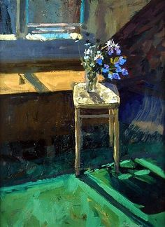 """Flowers on a Stool - Bowyer, Jason. Jason Bowyer - born 1957 in London; Jason studied at Camberwell and the R.A.Schools. He is the founder of the NEAC School of Drawing.   """"Flowers on a stool"""""""