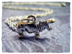 Silver Hungry Hippo Necklace - Silver Pewter Hippo Charm on a Delicate 18 Inch Silver Plated Cable Chain by EvelynMaeCreations on Etsy