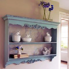 Pale Blue Carved Wall Rack - Bookshelves & Cabinets - Furniture