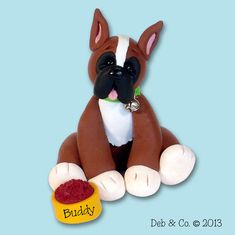 BUDDY the BOXER / Dog / Puppy / Handmade by PersonalizedOrnament