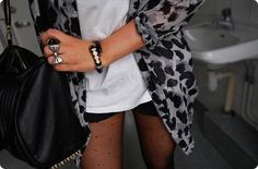 bag, black and white, fashion, girl, outfit
