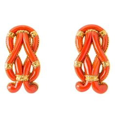 Ilias Lalaounis Coral Earrings | From a unique collection of vintage clip-on earrings at http://www.1stdibs.com/jewelry/earrings/clip-on-earrings/