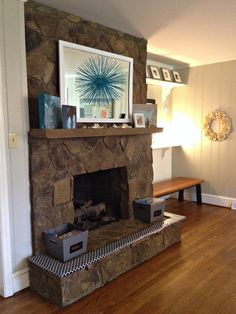 Painting a Stone Fireplace By Paper & Fox