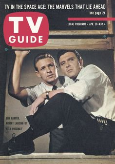 "TV Guide, April 1962 - Ron Harper and Robert Lansing of Precinct"" Ron Harper, History Of Television, The Originals Tv, I Robert, News Magazines, Vintage Magazines, Vintage Tv, Tv Guide, Film Music Books"