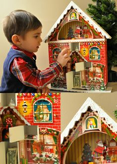 The 3-D Santa's Attic Advent Calendar is bright, festive and is a colorful, lively way to add family fun to your holiday season. The top of the attic is cut away, so your children can watch Santa prepare for the big night. Made to last for generations!