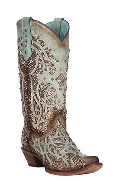 Corral Women's Brown and Burnished Turquoise w/ Glitter Inlay and Studs Western Snip Toe Boots | Cavender's