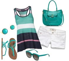 """""""Summer"""" by honeybee20 on Polyvore....I'd do white capris instead of these short shorts, but this is cute!"""