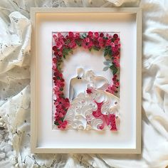 Original 3D Quilling Bride and groom is a perfect gift for wedding. This original paper art is sure to be treasured as a keepsake forever. Unique Quilling art is made with stripes of paper. Every paper strip is carefully hand rolled and shaped to create this beautiful pattern. The product