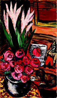 Stilleben mit roten Rosen und Butchy, 1942 by Max Beckmann Max Beckmann, Ernst Ludwig Kirchner, Emil Nolde, Paul Klee, Wassily Kandinsky, Van Gogh, Ludwig Meidner, Medieval Stained Glass, Carl Friedrich