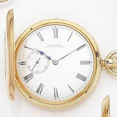 Bonhams : E. Beckman, London & Sydney. An 18ct gold keyless wind half hunter pocket watch with split seconds Case & Movement No.3665, London Hallmark for 1861