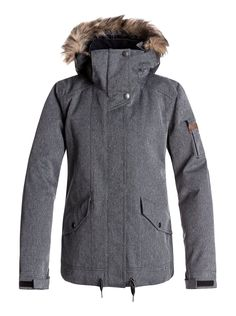 609686deb07 Roxy Grove Snow Jacket - Women s Ski and Snowboard Coat for Ladies in  Herringbone Grey Snowboard