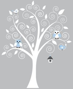 Possible nursery decal with a blue owl & bird for Baby Boy and a pink owl & bird for Baby Girl!