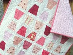 Pink and White Tumbler Baby Girl Quilt Modern by PatsPasssionQuilteds for $85.50