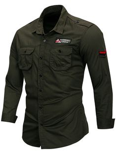 Fredd Marshall 2019 New Cotton Military Shirt Men Long Sleeve Casual Dress Shirt Male Cargo Work Shirts With Embroidery 115 Mens Shirts Sale, Shirt Sale, Military Men, Military Fashion, Military Shirt, Shirt Men, Shirt Sleeves, Long Sleeve Shirts, Military Style Shirts