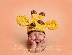 Crochet Baby Giraffe Beanie, Custom Made To Order,  Newborn, 0-3, 3-6 Months Boy Girl Photo Photography Prop Baby Shower Gift Animal Hat