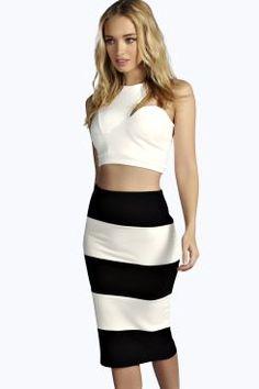 Cece Contrast Colour Block Midi Skirt at boohoo.com