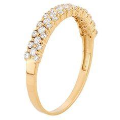 Tiara 10k Yellow Gold 3 Row CZ Band Ring - (7)