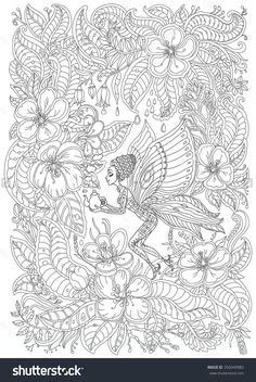 fantasy butterfly pixie with teapot in blooming garden adult coloring page